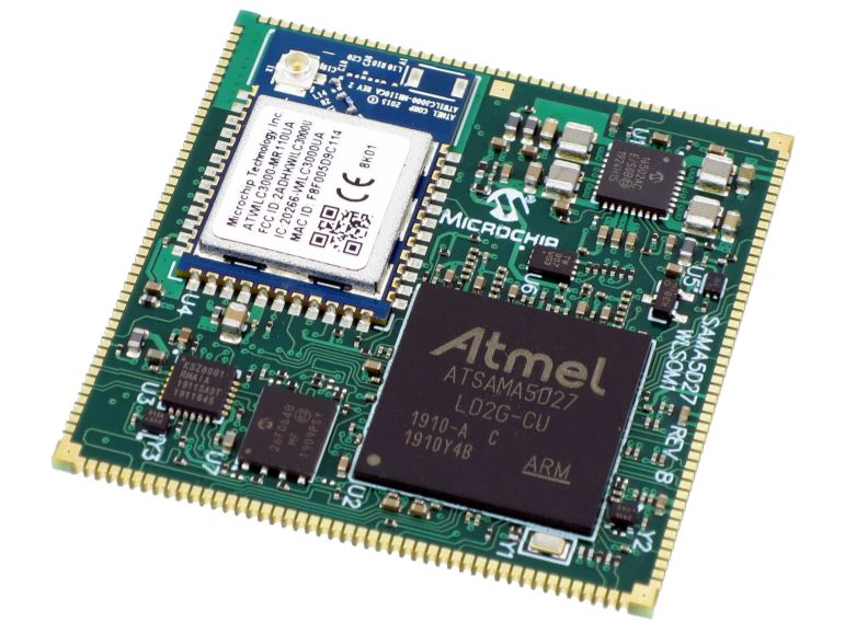 The SAMA5D27 Wireless SOM1 (WLSOM1) is a small single-sided System-On-Module (SOM) based on the high-performance 32-bit Arm® Cortex®-A5 processor-based MPU