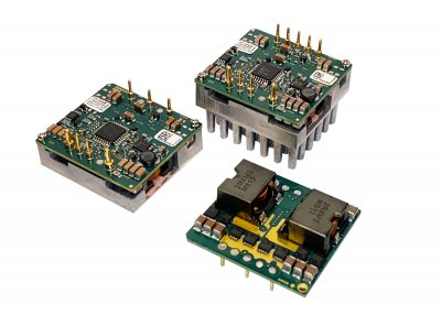 1/16th brick footprint, 500W step-down DC-DC buck converter has an output range of 3.3 to 24V